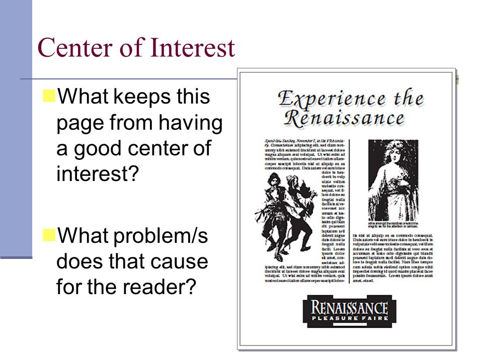 Center of Interest What is the center of interest on this page? Why?