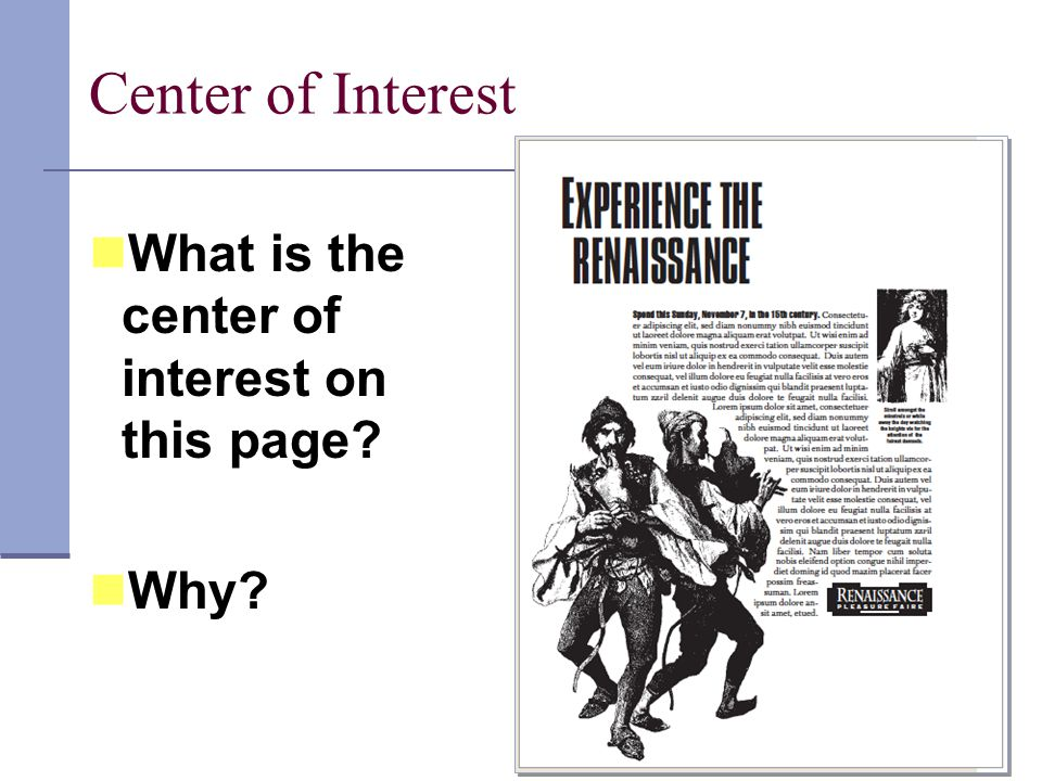 Center of Interest What is the center of interest on this page Why