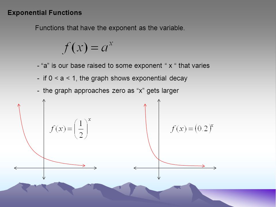 Exponential Functions Functions that have the exponent as the variable.