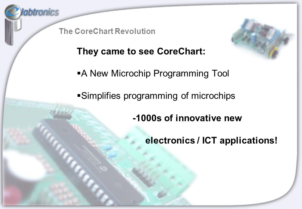 They came to see CoreChart:   A New Microchip Programming Tool   Simplifies programming of microchips -1000s of innovative new electronics / ICT a