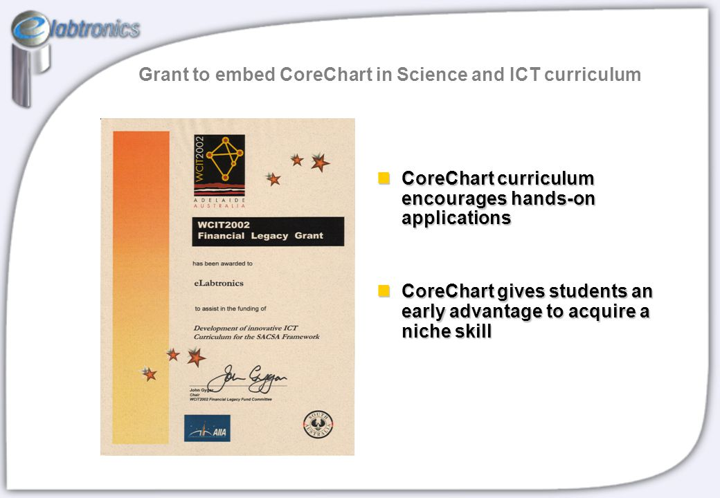 Grant to embed CoreChart in Science and ICT curriculum CoreChart curriculum encourages hands-on applications CoreChart curriculum encourages hands-on