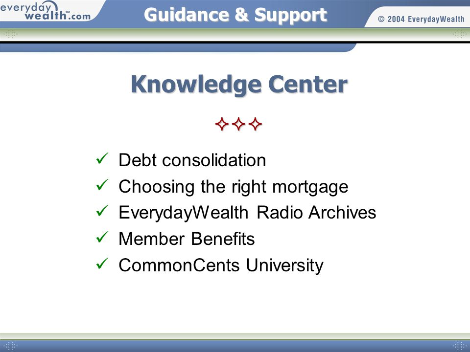 Guidance & Support Knowledge Center  Debt consolidation Choosing the right mortgage EverydayWealth Radio Archives Member Benefits CommonCents University