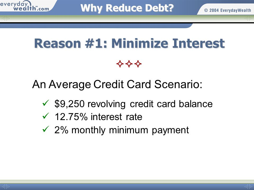 Why Reduce Debt? An Average Credit Card Scenario: $9,250 revolving credit card balance 12.75% interest rate 2% monthly minimum payment Reason #1: Mini