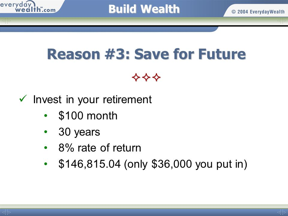 Build Wealth Reason #3: Save for Future  Invest in your retirement $100 month 30 years 8% rate of return $146,815.04 (only $36,000 you put in)