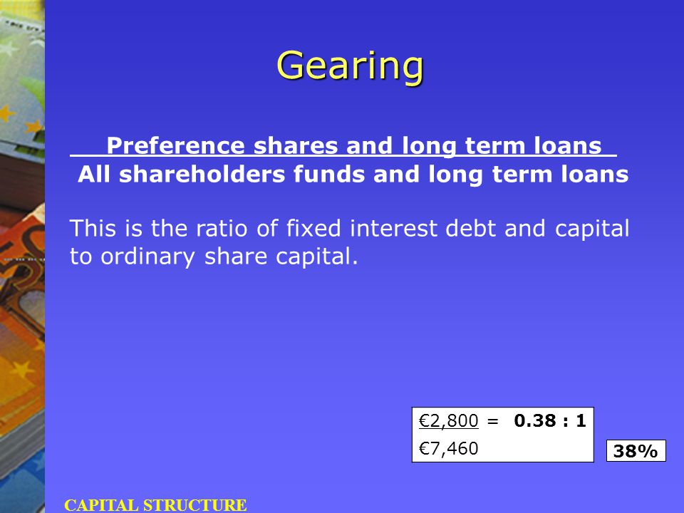 Preference shares and long term loans All shareholders funds and long term loans This is the ratio of fixed interest debt and capital to ordinary shar
