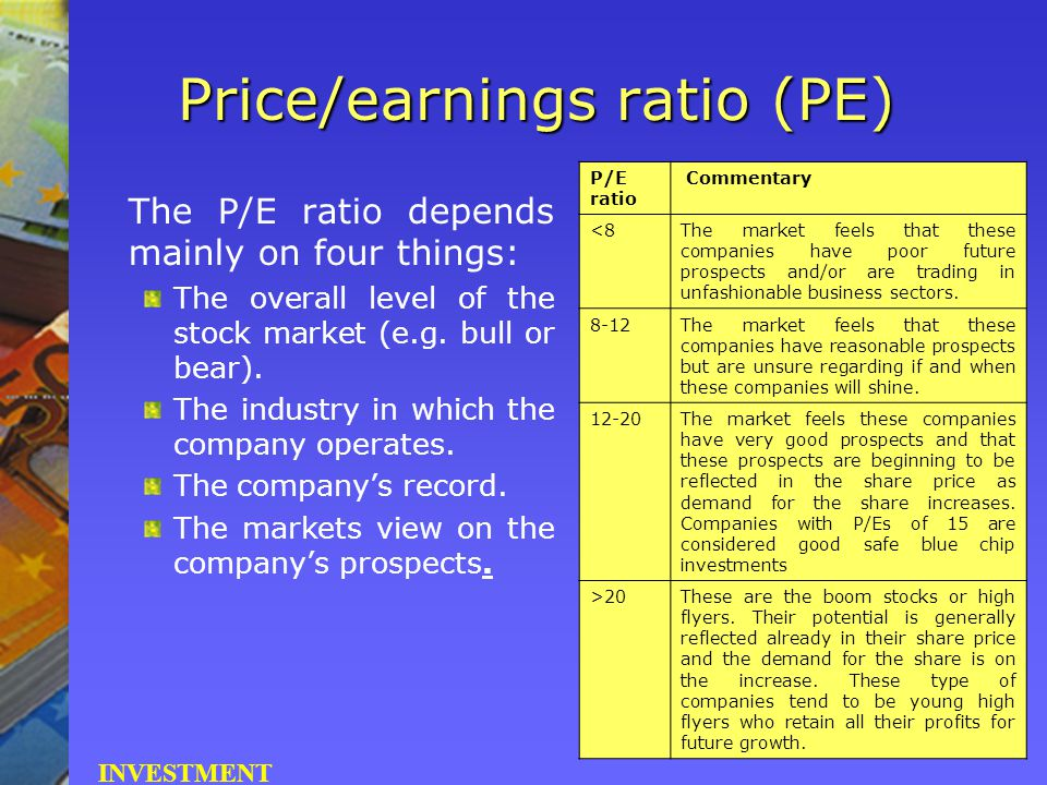 Price/earnings ratio (PE) The P/E ratio depends mainly on four things: The overall level of the stock market (e.g. bull or bear). The industry in whic