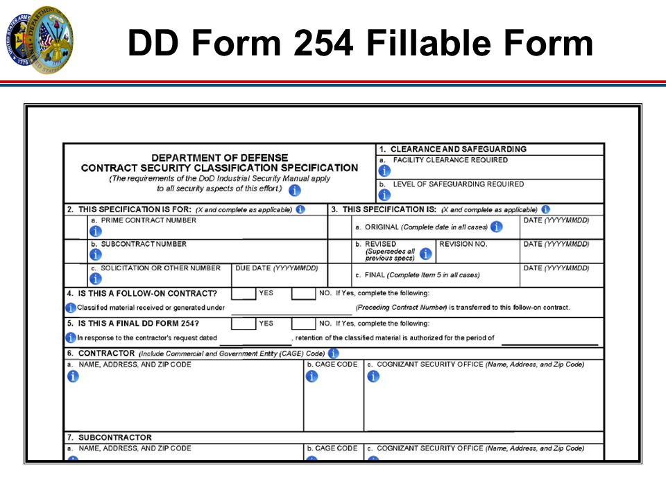DD Form 254 Fillable Form