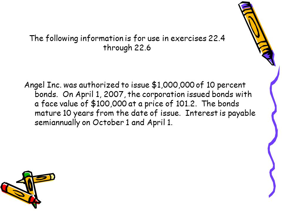 The following information is for use in exercises 22.4 through 22.6 Angel Inc.