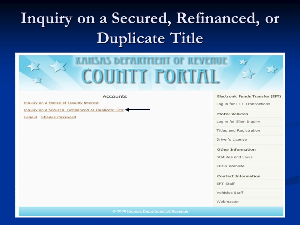 Inquiry on a Secured, Refinanced, or Duplicate Title