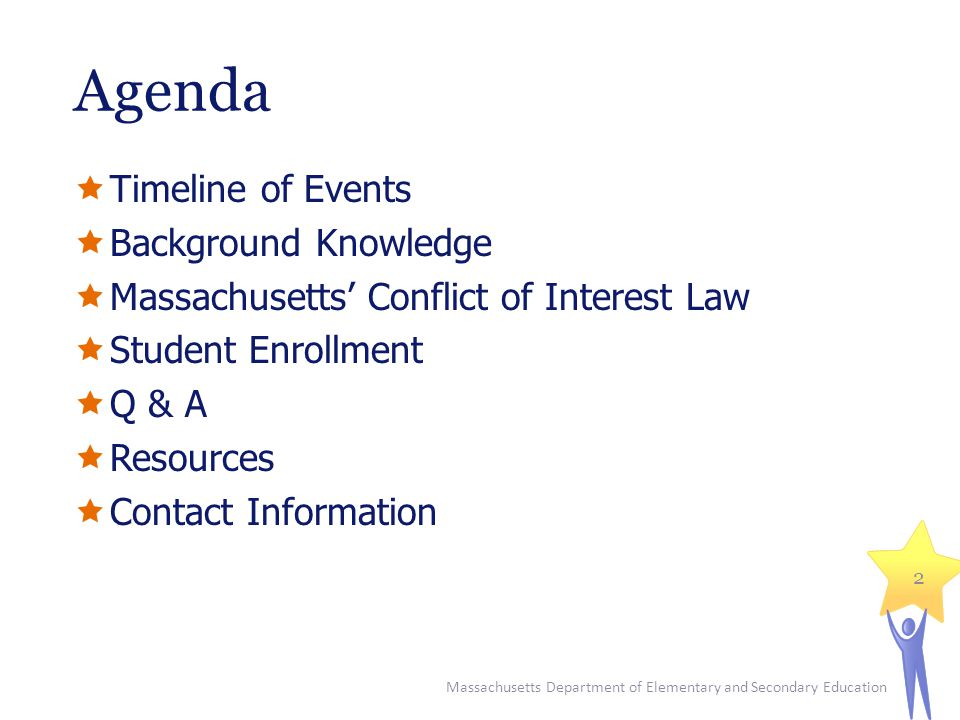 Agenda  Timeline of Events  Background Knowledge  Massachusetts' Conflict of Interest Law  Student Enrollment  Q & A  Resources  Contact Inform