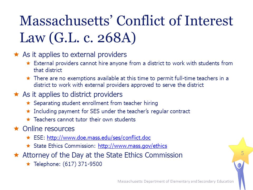 Massachusetts' Conflict of Interest Law (G.L. c. 268A)  As it applies to external providers  External providers cannot hire anyone from a district t