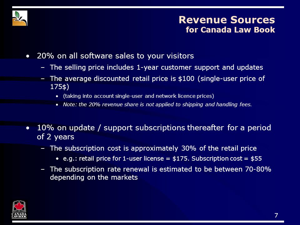 8 How Sales are Processed 1)A visitor sees a and decides to buy A 14-day demo is also available on the Web to try before buying 2)Visitor downloads the order form 3)Faxes the order form to Jurismedia –request an invoice or pay by credit card or check 4) Visitor activates Margill permanently with user code provided by Jurismedia May request a CD-ROM ($20 fee for shipping and handling) www.canadalawbook.ca/buyMargill Customized order form with discounted retail price www.margill.com/canadalawbook General order form with a space to mention his/her association Printed ad Banner on the web Newsletter article