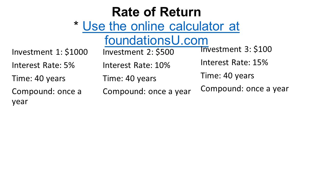 Rate of Return * Use the online calculator at foundationsU.comUse the online calculator at foundationsU.com Investment 1: $1000 Interest Rate: 5% Time: 40 years Compound: once a year Investment 2: $500 Interest Rate: 10% Time: 40 years Compound: once a year Investment 3: $100 Interest Rate: 15% Time: 40 years Compound: once a year