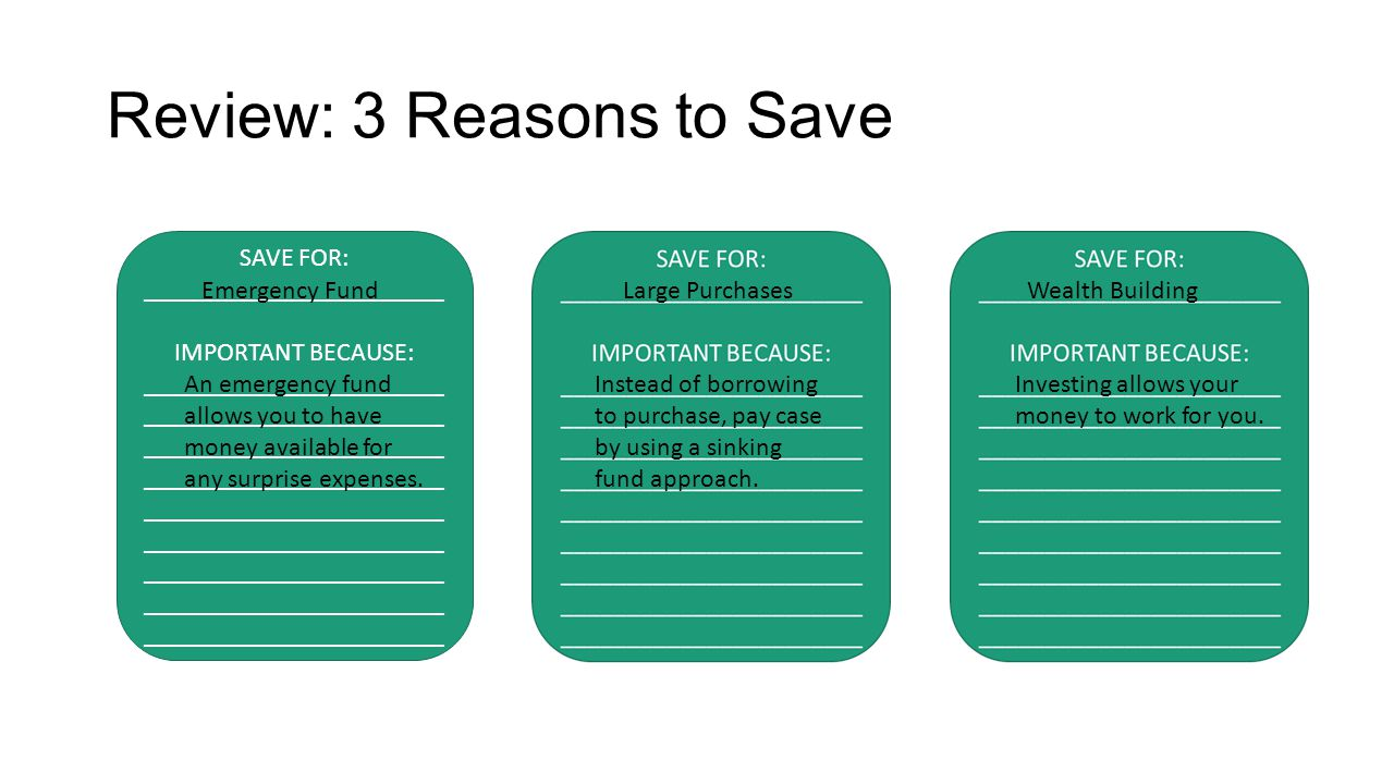 Review: 3 Reasons to Save SAVE FOR: _______________________ IMPORTANT BECAUSE: _______________________ _______________________ _______________________ _______________________ _______________________ _______________________ _______________________ _______________________ _______________________ Emergency Fund An emergency fund allows you to have money available for any surprise expenses.