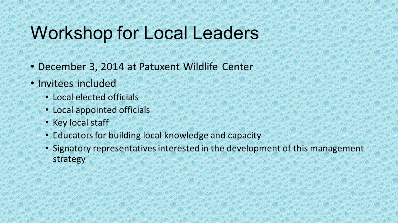 Workshop for Local Leaders December 3, 2014 at Patuxent Wildlife Center Invitees included Local elected officials Local appointed officials Key local staff Educators for building local knowledge and capacity Signatory representatives interested in the development of this management strategy
