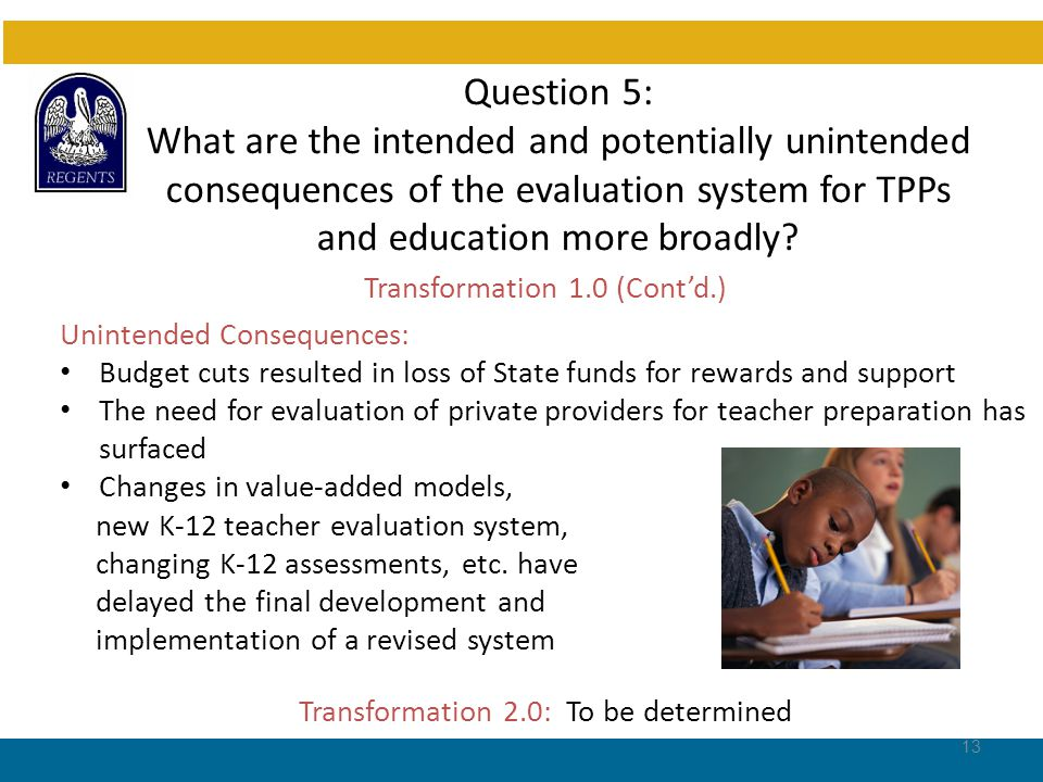 Question 5: What are the intended and potentially unintended consequences of the evaluation system for TPPs and education more broadly.