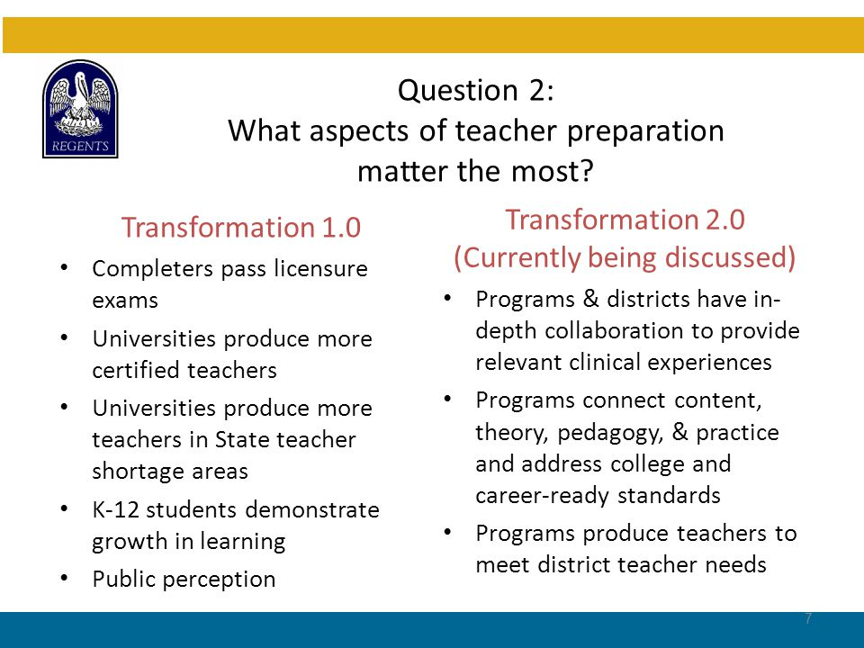 Question 2: What aspects of teacher preparation matter the most.
