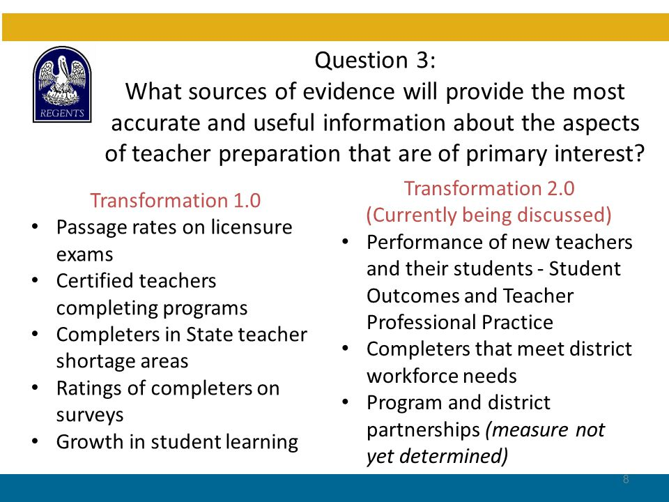 Question 3: What sources of evidence will provide the most accurate and useful information about the aspects of teacher preparation that are of primary interest.