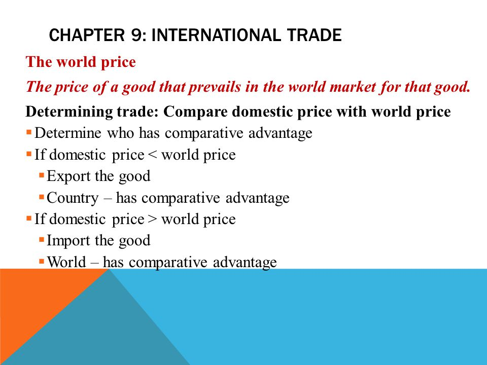 CHAPTER 9: INTERNATIONAL TRADE The world price The price of a good that prevails in the world market for that good.