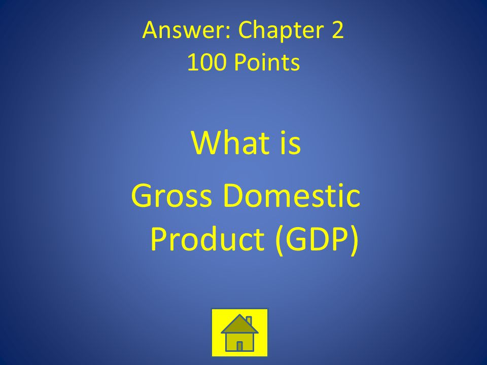 Answer: Chapter 2 100 Points What is Gross Domestic Product (GDP)