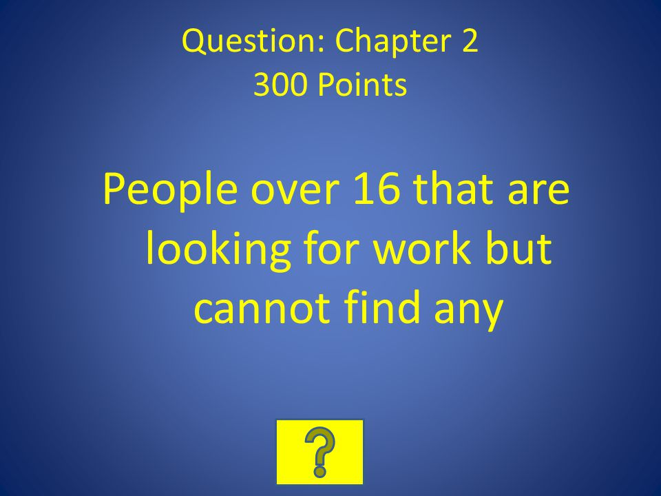 Question: Chapter 2 300 Points People over 16 that are looking for work but cannot find any