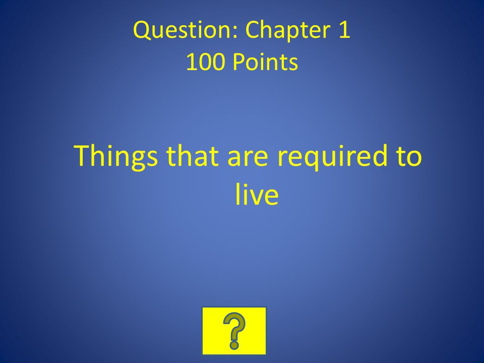 Question: Chapter 1 100 Points Things that are required to live