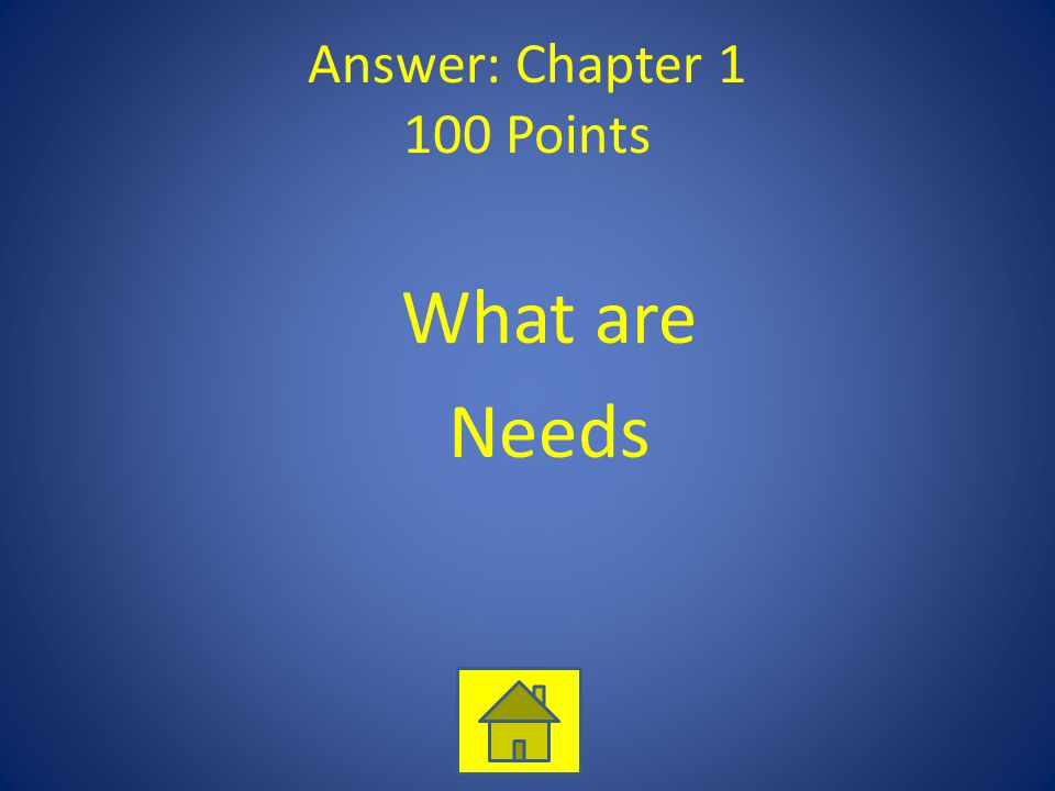 Answer: Chapter 1 100 Points What are Needs