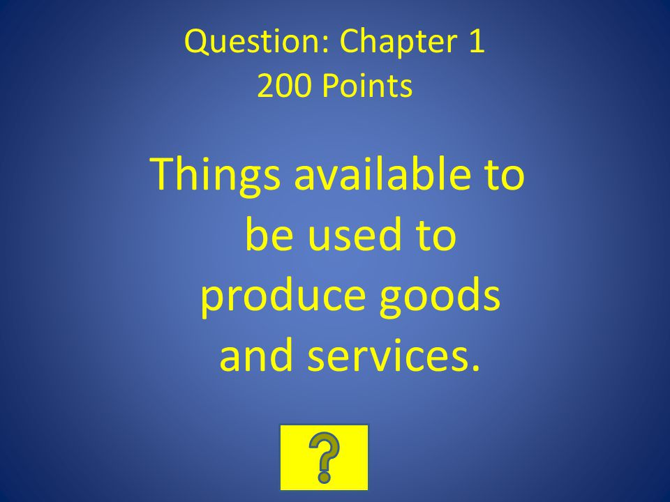Answer: Hodgepodge 200 Points What is Consumer