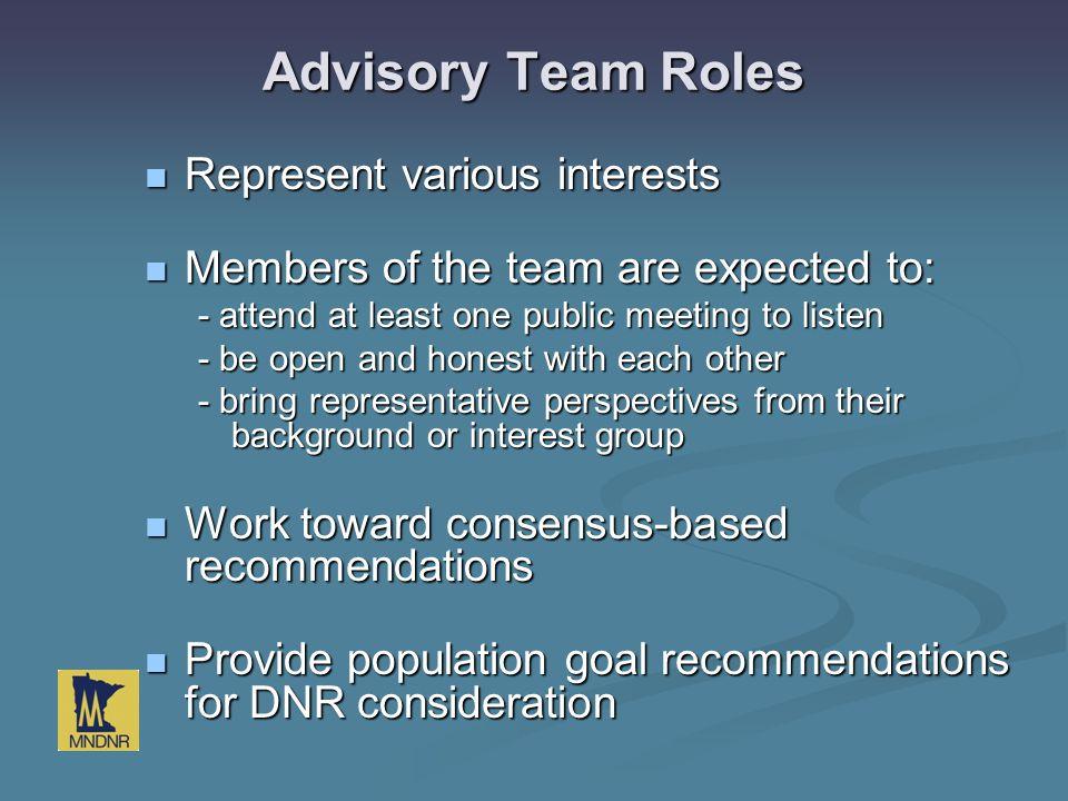 Advisory Team Roles Represent various interests Represent various interests Members of the team are expected to: Members of the team are expected to: