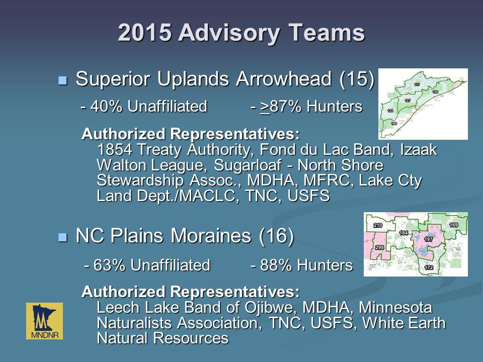 2015 Advisory Teams Superior Uplands Arrowhead (15) - 40% Unaffiliated- >87% Hunters Superior Uplands Arrowhead (15) - 40% Unaffiliated- >87% Hunters