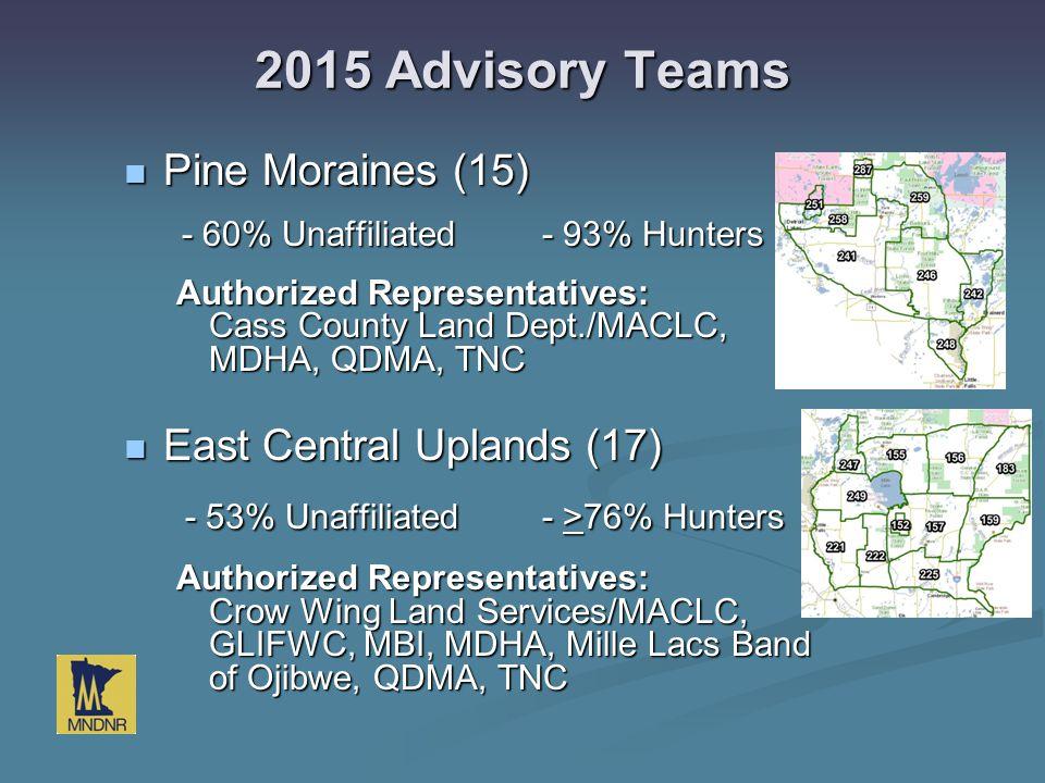 2015 Advisory Teams Pine Moraines (15) Pine Moraines (15) - 60% Unaffiliated- 93% Hunters - 60% Unaffiliated- 93% Hunters Authorized Representatives: