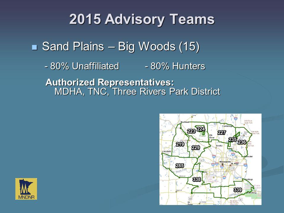 2015 Advisory Teams Sand Plains – Big Woods (15) Sand Plains – Big Woods (15) - 80% Unaffiliated- 80% Hunters - 80% Unaffiliated- 80% Hunters Authoriz