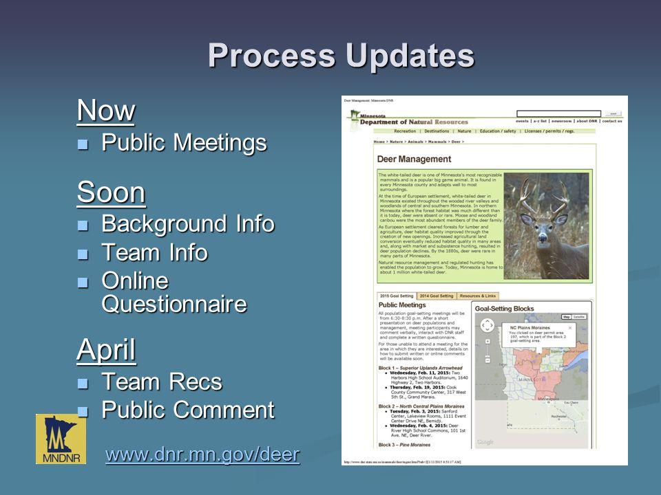 Now Public Meetings Public MeetingsSoon Background Info Background Info Team Info Team Info Online Questionnaire Online QuestionnaireApril Team Recs T