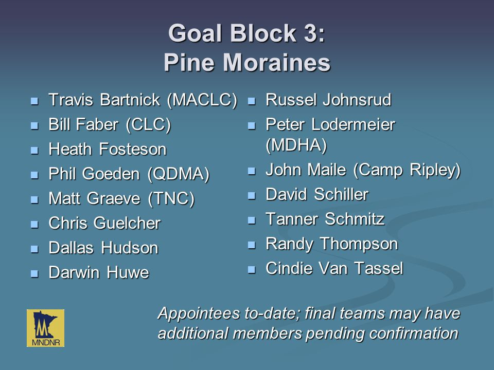 Goal Block 3: Pine Moraines Travis Bartnick (MACLC) Travis Bartnick (MACLC) Bill Faber (CLC) Bill Faber (CLC) Heath Fosteson Heath Fosteson Phil Goede