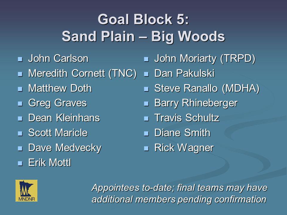 Goal Block 5: Sand Plain – Big Woods John Carlson John Carlson Meredith Cornett (TNC) Meredith Cornett (TNC) Matthew Doth Matthew Doth Greg Graves Gre