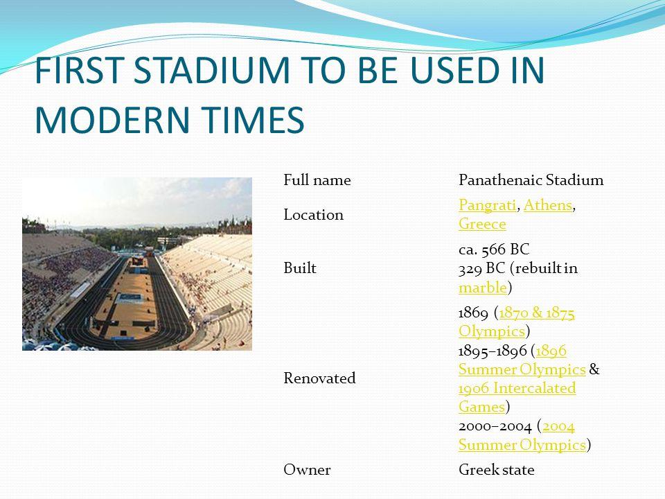 Full namePanathenaic Stadium Location PangratiPangrati, Athens, GreeceAthens Greece Built ca.