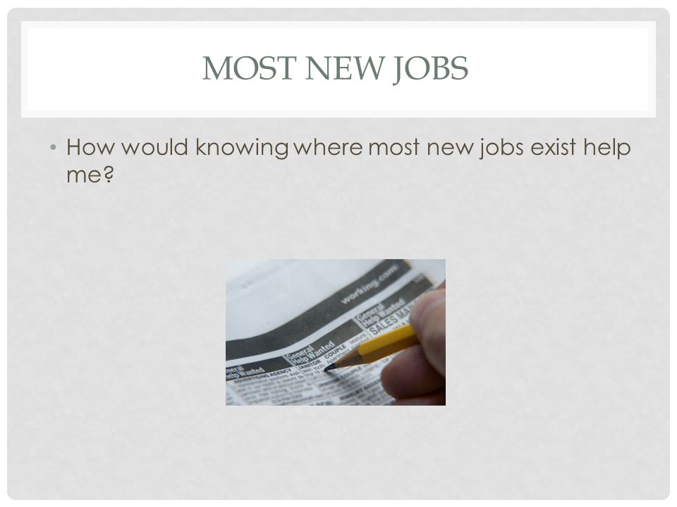 MOST NEW JOBS How would knowing where most new jobs exist help me?