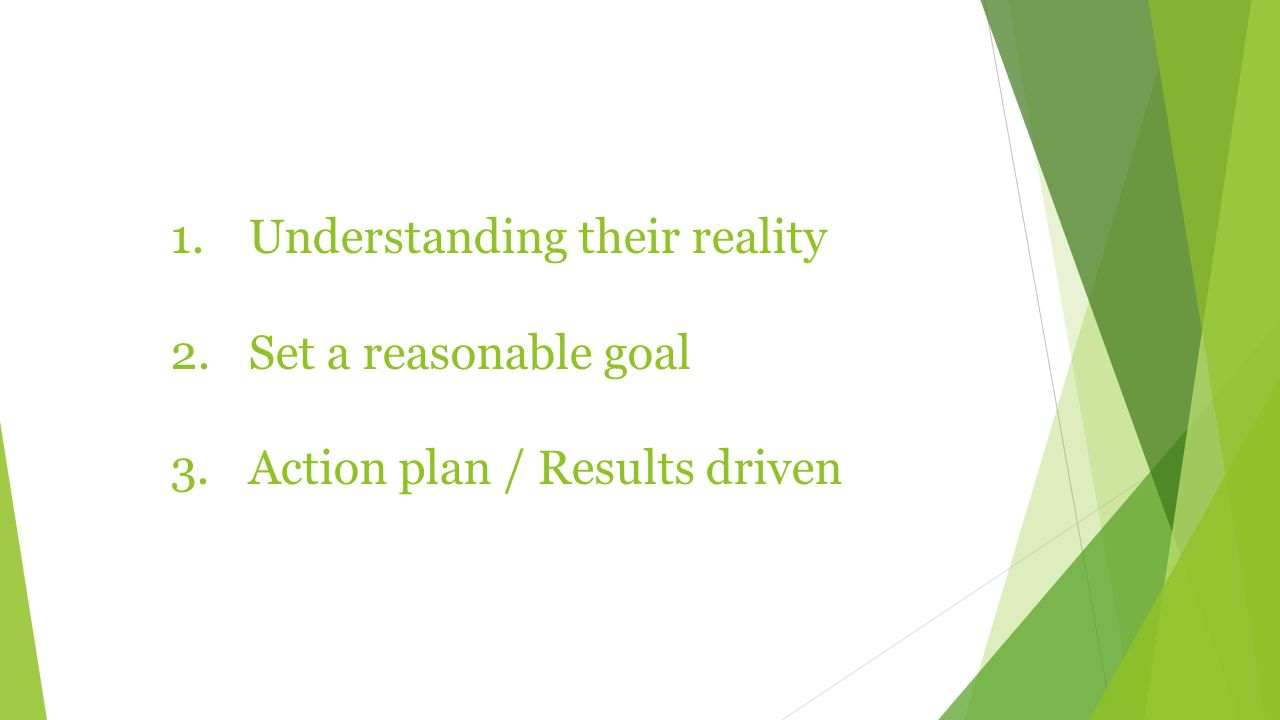1.Understanding their reality 2.Set a reasonable goal 3.Action plan / Results driven