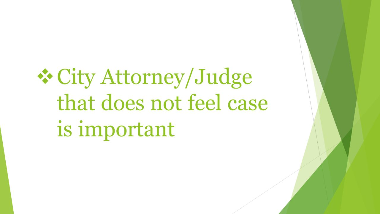  City Attorney/Judge that does not feel case is important