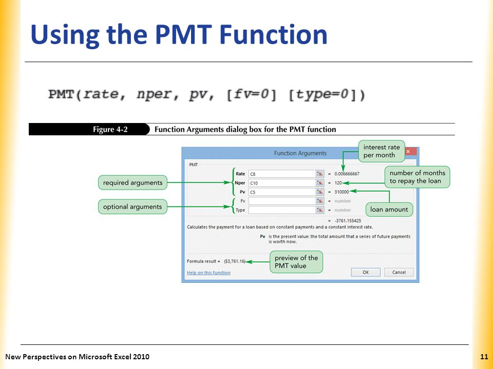 XP Using the PMT Function New Perspectives on Microsoft Excel 201011