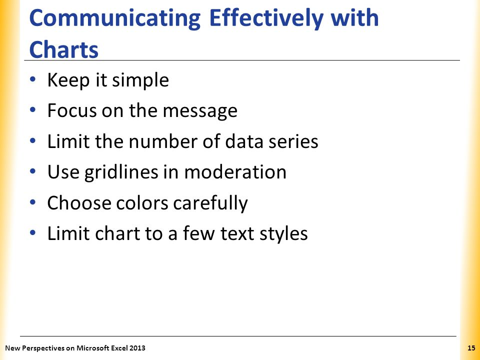 XP Communicating Effectively with Charts Keep it simple Focus on the message Limit the number of data series Use gridlines in moderation Choose colors