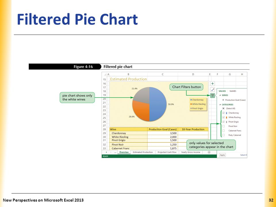 XP Filtered Pie Chart New Perspectives on Microsoft Excel 201332