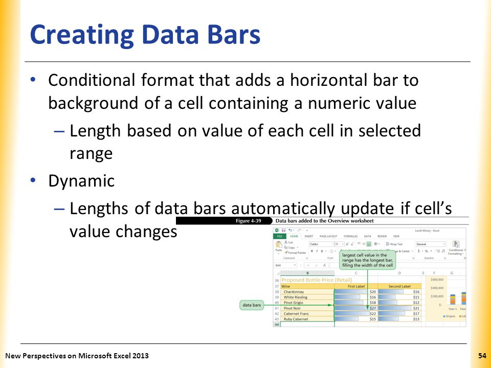 XP Creating Data Bars Conditional format that adds a horizontal bar to background of a cell containing a numeric value – Length based on value of each
