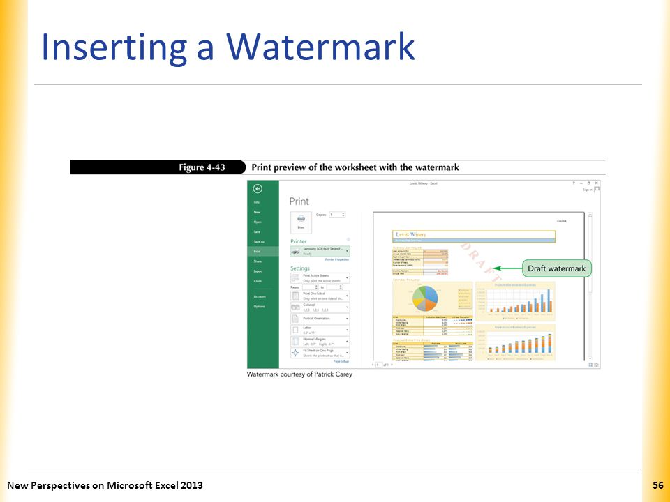 XP Inserting a Watermark New Perspectives on Microsoft Excel 201356