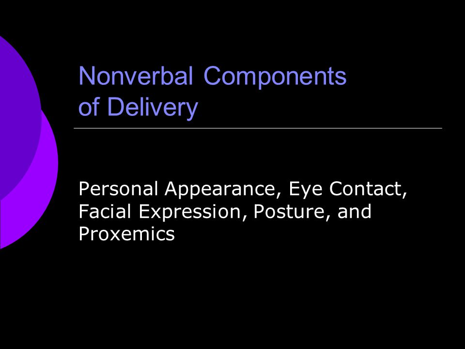 Nonverbal Components of Delivery Personal Appearance, Eye Contact, Facial Expression, Posture, and Proxemics