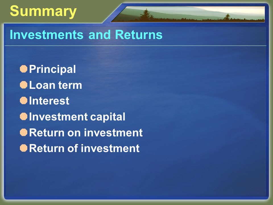 Summary Investments and Returns  Principal  Loan term  Interest  Investment capital  Return on investment  Return of investment