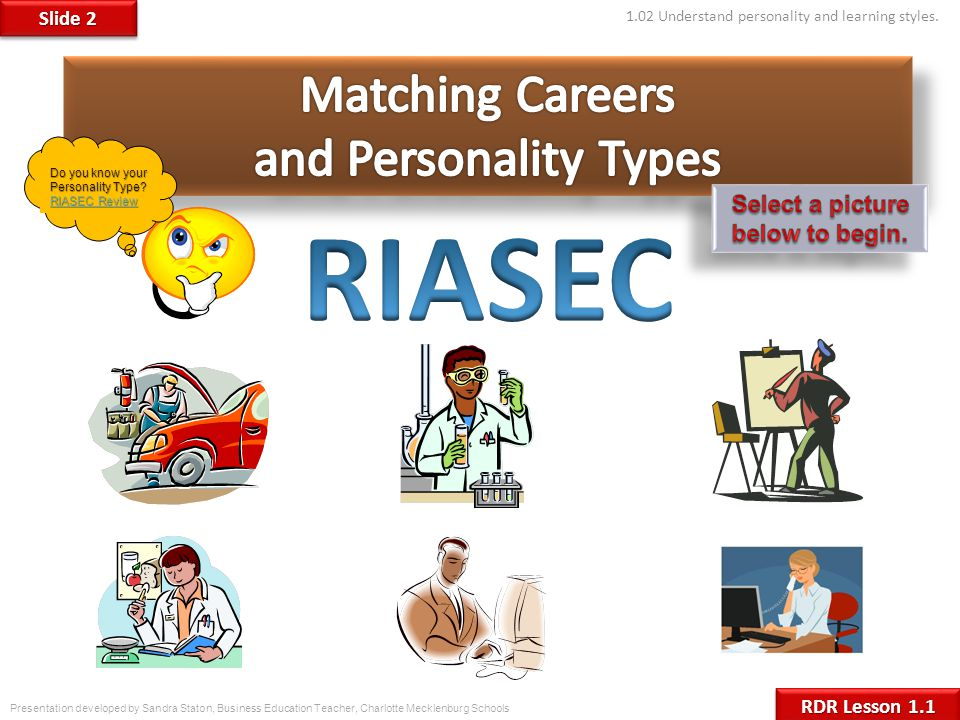 Click here to learn more about the Realistic Personality type.Realistic Possible Careers  Auto mechanic  Aircraft controller  Surveyor  Electrician  Farmer The R type usually has mechanical and athletic abilities and likes to work with things more than people.