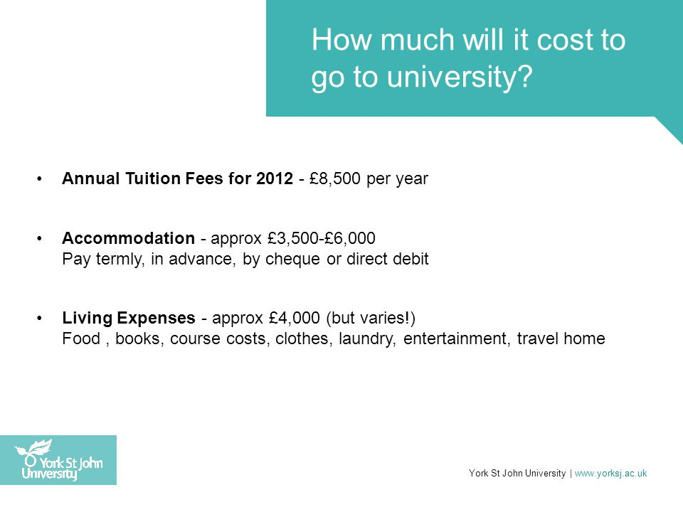 Annual Tuition Fees for 2012 - £8,500 per year Accommodation - approx £3,500-£6,000 Pay termly, in advance, by cheque or direct debit Living Expenses
