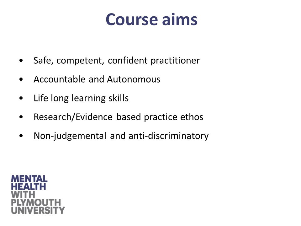 Highly integrated and focused course Course completed over 3 years full time The course will be delivered with a balance of theoretical, practical and placement learning Inter-professional education opportunities with other health & social care students Course structure