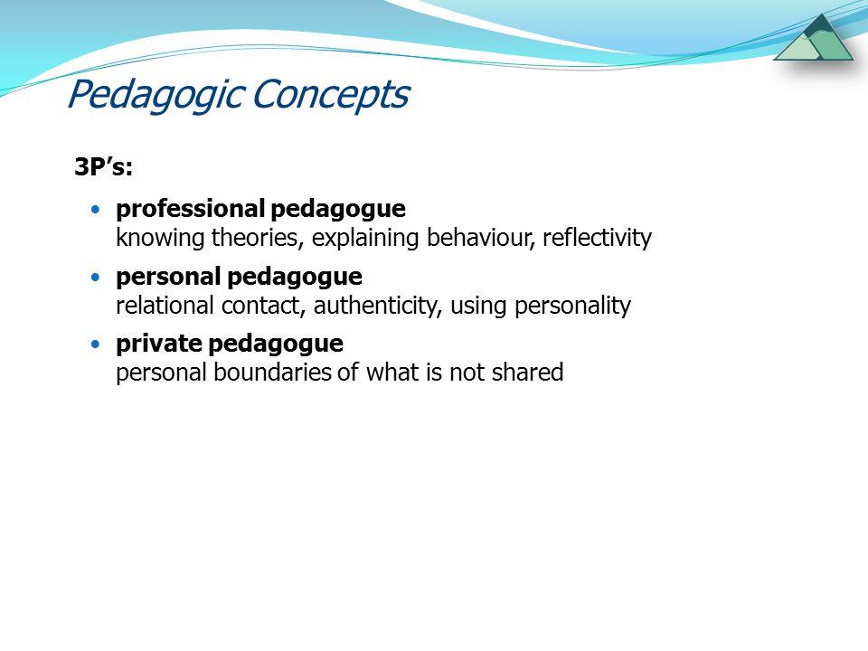 Pedagogic Concepts 3P's: professional pedagogue knowing theories, explaining behaviour, reflectivity personal pedagogue relational contact, authentici